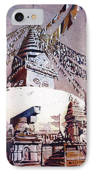 IPhone Case featuring the painting Buddhist Stupa- Nepal by Ryan Fox