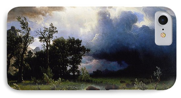 Buffalo Trail  The Impending Storm IPhone Case by Albert Bierstadt