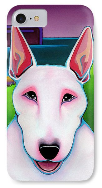 IPhone Case featuring the painting Bull Terrier by Leanne WILKES