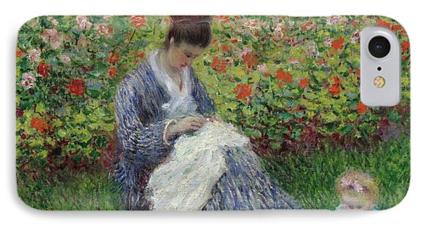 Camille Monet And A Child In The Garden At Argenteuil IPhone Case by Claude Monet