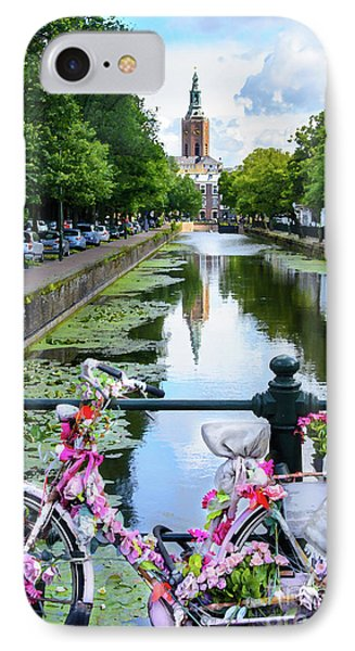 IPhone Case featuring the digital art Canal And Decorated Bike In The Hague by RicardMN Photography