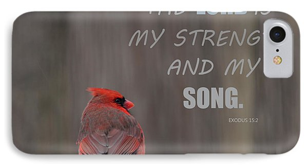 Cardinal In The Snowstorm With Scripture IPhone Case by Sandi OReilly
