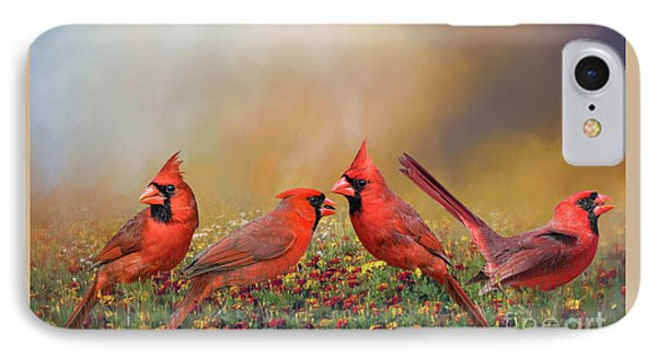 IPhone Case featuring the photograph Cardinal Quartet by Bonnie Barry