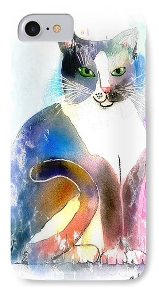 IPhone Case featuring the mixed media Cat Of Many Colors by Arline Wagner