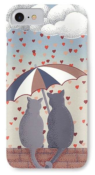 IPhone Case featuring the mixed media Cats In Love by Anne Gifford