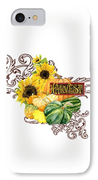Celebrate Abundance - Harvest Fall Pumpkins Squash N Sunflowers IPhone Case