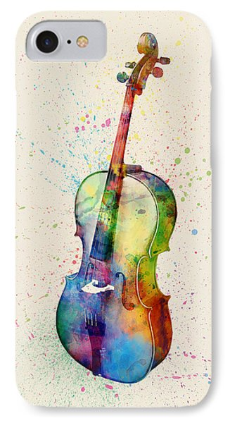 Violin iPhone 7 Case - Cello Abstract Watercolor by Michael Tompsett
