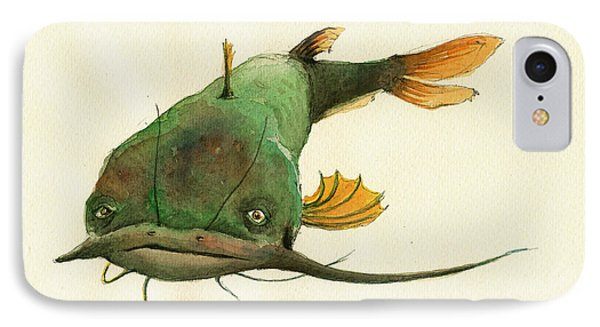 Channel Catfish Fish Animal Watercolor Painting IPhone Case by Juan  Bosco