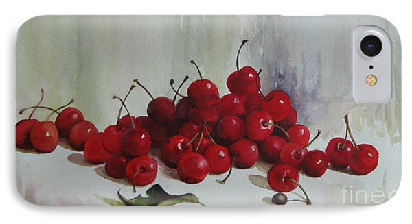 IPhone Case featuring the painting Cherries by Elena Oleniuc