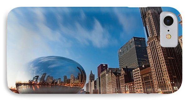 Chicago Skyline And Bean At Sunrise Phone Case by Sven Brogren