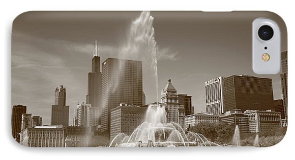 Chicago Skyline And Buckingham Fountain Phone Case by Frank Romeo