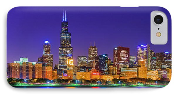 Chicago Skyline With Cubs World Series Lights Night, Lake Michigan, Chicago, Cook County, Illinois IPhone Case