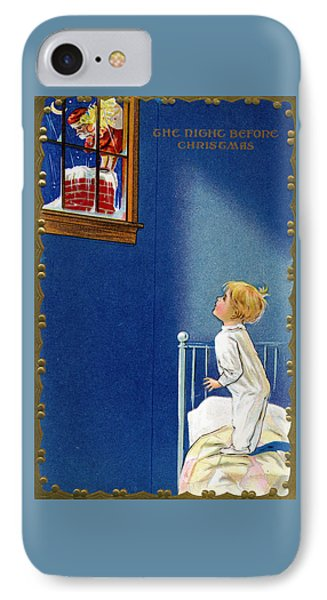 Child Watches As Santa Comes Down Chimney On Christmas Eve IPhone Case by American School