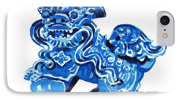 Chinese Foo Dog - Fu Guardian Lion Blue Ceramic Chinoiserie IPhone Case by Laura Row
