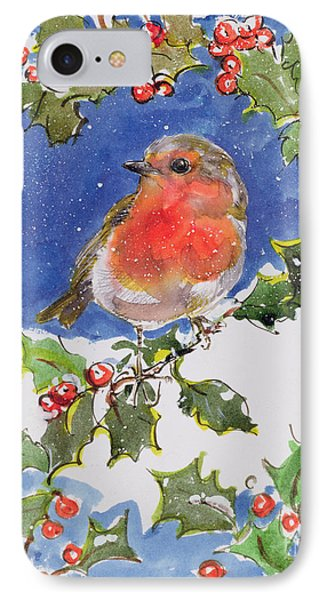 Christmas Robin IPhone Case by Diane Matthes