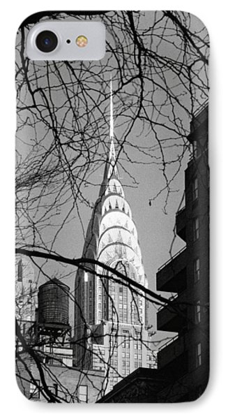 Chrysler Building And Tree IPhone 7 Case by Dave Beckerman