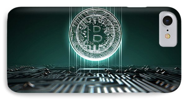 Circuit Board Projecting Bitcoin IPhone Case by Allan Swart