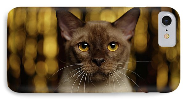 Cat iPhone 7 Case - Closeup Portrait Burmese Cat On Happy New Year Background by Sergey Taran