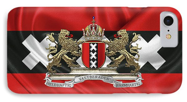 Coat Of Arms Of Amsterdam Over Flag Of Amsterdam Phone Case by Serge Averbukh