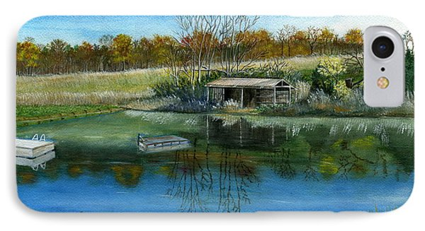 IPhone Case featuring the painting Cole Hill Pond by Melly Terpening