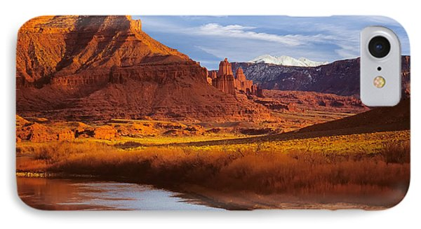 Colorado River At Fisher Towers IPhone Case by Utah Images