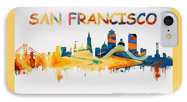 Colorful San Francisco Skyline Silhouette IPhone Case by Dan Sproul
