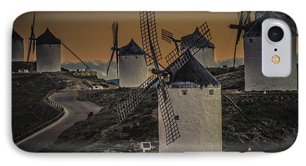 IPhone Case featuring the photograph Consuegra Windmills 2 by Heiko Koehrer-Wagner