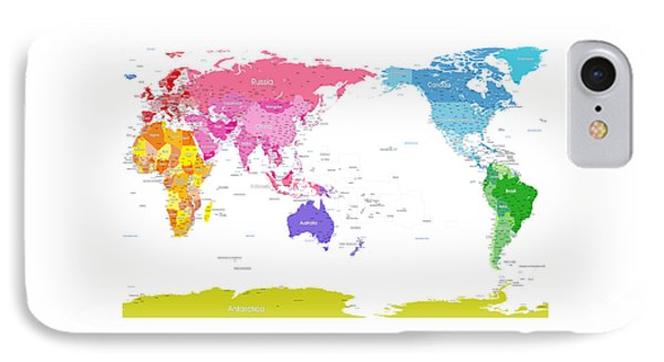 Continents World Map IPhone Case by Michael Tompsett
