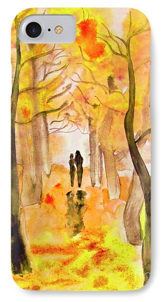 Couple On Autumn Alley, Painting IPhone Case