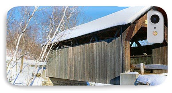 Covered Bridge, Stowe, Winter, Vermont IPhone Case
