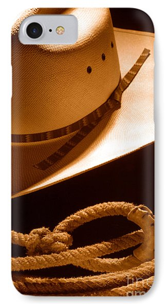 Cowboy Hat And Lasso - Sepia IPhone Case by Olivier Le Queinec
