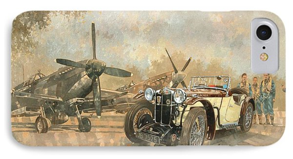 Car iPhone 7 Case - Cream Cracker Mg 4 Spitfires  by Peter Miller
