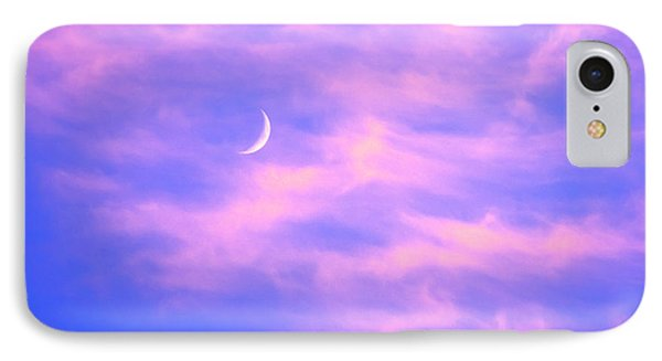 Crescent Moon Behind Cirrus Cloud In The Evening Phone Case by Gordon Wood