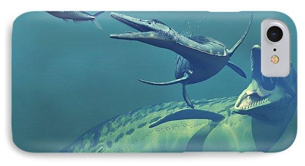 Cretaceous Marine Predators, Artwork Phone Case by Walter Myers