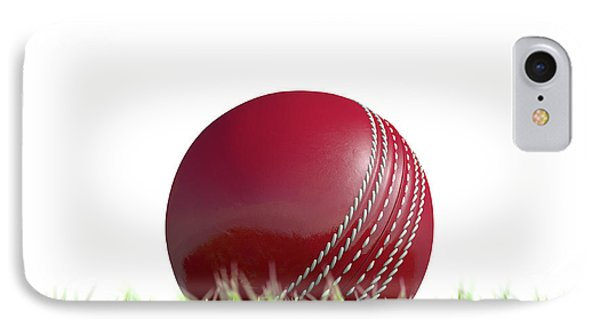 Cricket Ball Resting On Grass IPhone Case by Allan Swart