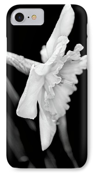 IPhone Case featuring the photograph Daffodil Flower Black And White by Jennie Marie Schell