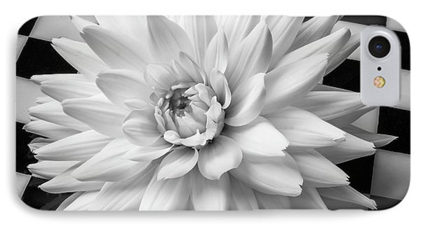 Dahlia On Checker Background IPhone Case by Garry Gay