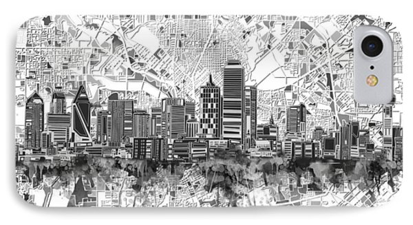 Dallas Skyline Map Black And White 5 IPhone Case