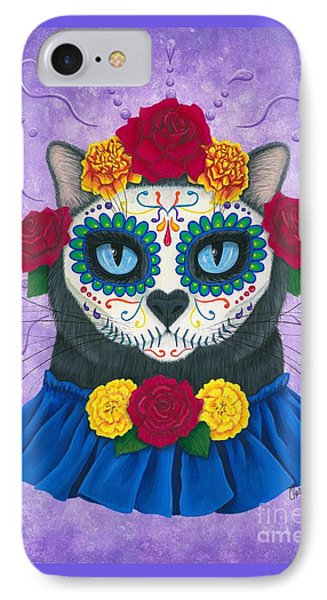 IPhone Case featuring the painting Day Of The Dead Cat Gal - Sugar Skull Cat by Carrie Hawks