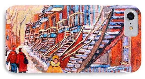 Debullion Street Winter Walk Phone Case by Carole Spandau
