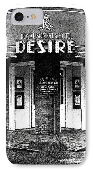 Desire Corner Bourbon Street French Quarter New Orleans Black And White Fresco Digital Art IPhone Case by Shawn O'Brien