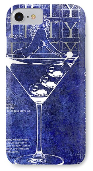 Dirty Dirty Martini Patent Blue IPhone Case by Jon Neidert