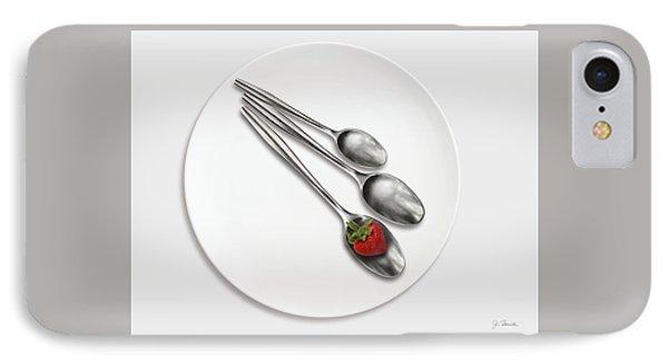Dish, Spoons And Strawberry IPhone Case by Joe Bonita