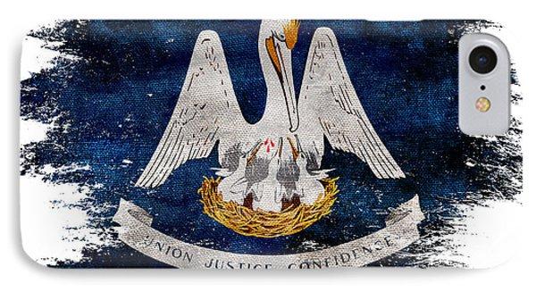 Distressed Louisiana Flag IPhone Case by Jon Neidert