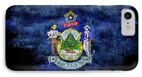Distressed Maine Flag On Black IPhone Case