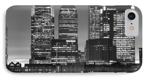 Docklands Canary Wharf Sunset Bw IPhone Case by David French