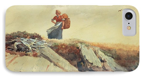 Down The Cliff IPhone Case by Winslow Homer