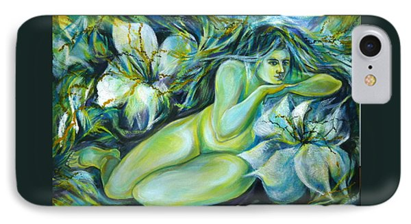 IPhone Case featuring the painting Dreaming Flower by Anna  Duyunova