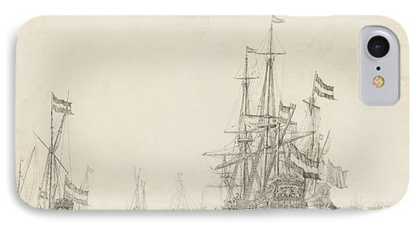Dutch Ships Near The Coast IPhone Case by Willem van de Velde the Elder