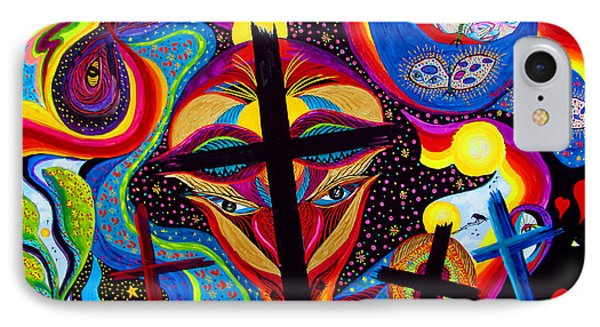 IPhone Case featuring the painting Crosses To Bear by Marina Petro